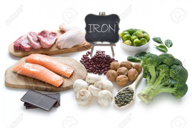 Collection of foods high in iron